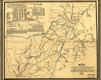 Poster, Many Sizes Available; Map Of The Boston & Woonsocket Railroad 1847