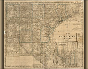 Poster, Many Sizes Available; Map Of Wayne County, Michigan 1855