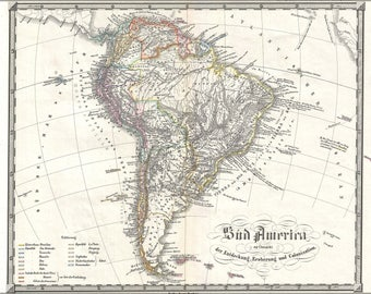 Poster, Many Sizes Available; 1855 Spruner Map Of South America - Overview Of Discovery, Conquest And Colonization