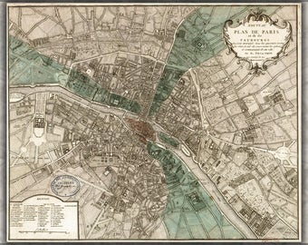 Poster, Many Sizes Available; Map Of Paris France  In 1740