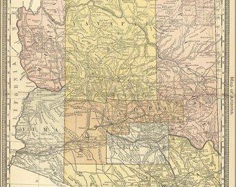 Poster, Many Sizes Available; Map Of Arizona 1881