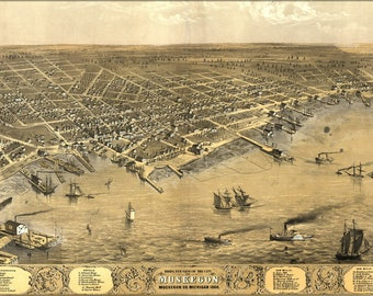 Poster, Many Sizes Available; Birdseye View Map Of Muskegon, Michigan 1868