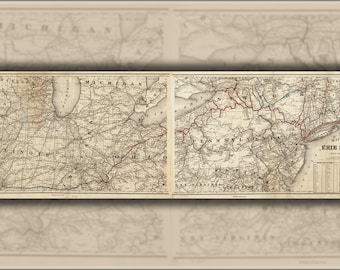 Poster, Many Sizes Available; Map Of The Erie Railroad Ohio Pennsylvania 1869