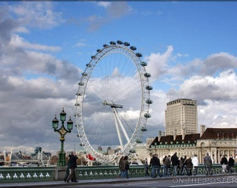 Poster, Many Sizes Available; London Eye Ferris Wheel From Westminster Bridge In Central London Millennium Wheel