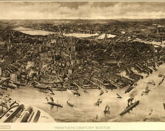 Poster, Many Sizes Available; Map Of Boston 1905
