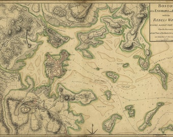 Poster, Many Sizes Available; Map Of Boston 1775
