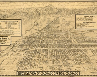 Poster, Many Sizes Available; Birdseye Map Of Colorado Springs, Colorado 1909
