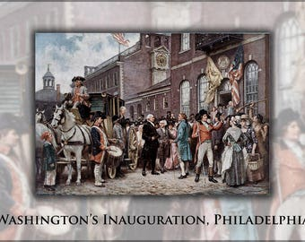 Poster, Many Sizes Available; George Washington'S Inauguration At Philadelphia By Jean Leon Gerome Ferris