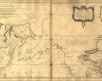 Poster, Many Sizes Available; Map Of North Atlantic Ocean 1772 In French