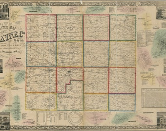 Poster, Many Sizes Available; Map Of Wayne County Ohio 1856