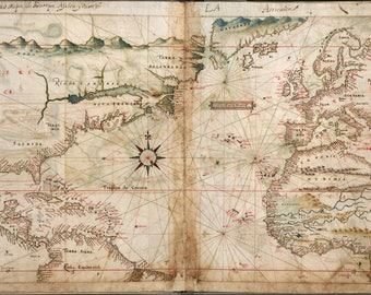 Poster, Many Sizes Available; Map Of North Atlantic Ocean 1630 Pre United States Of America