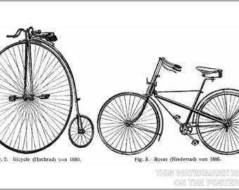 Poster, Many Sizes Available; Penny Farthing And Safety Bicycle