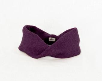 Burgundy tuban-style headband 100% wool