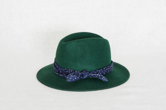 Forest green fedora hat decorated with a cotton scarf  9ff54e74881