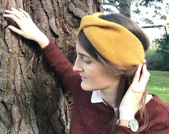 Saffron yellow turban-style headband 100% wool