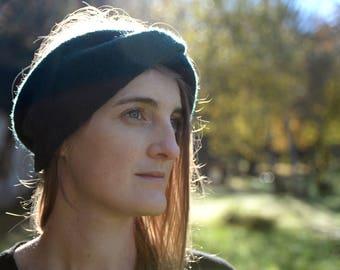 Green headband turban 100% wool