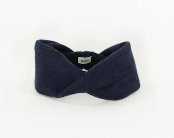 Dark blue turban-style headband 100% wool