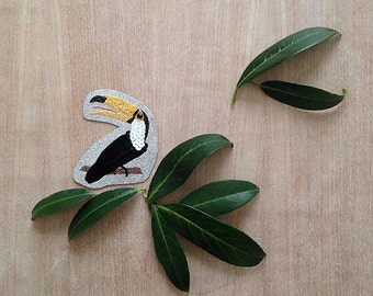 TOUPIKO - hand embroidered toucan brooch - toucan - pin - brooch embroidered brooch unique - handmade