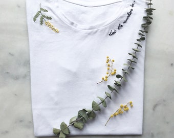 """MIMOSA"" hand embroidered T-shirt"