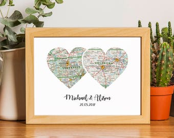 Custom Heart Map, Map Heart Art, Personalized Map, Custom Map Art, Husband Gift, Gifts For The Couple, Anniversary Gift, Heart Map Print.