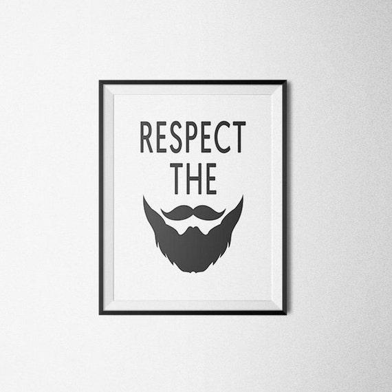 Respect the Beard Wall Print Beard Art Print Funny Art | Etsy