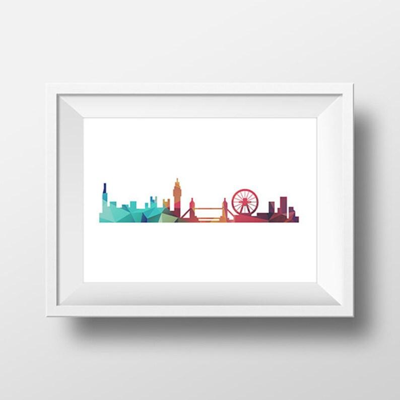London Skyline, London Cityscape Art Print, Low Poly City, Printable 8x10,  Instant Download, Geometric Art, Home Decor, Digital Art Print