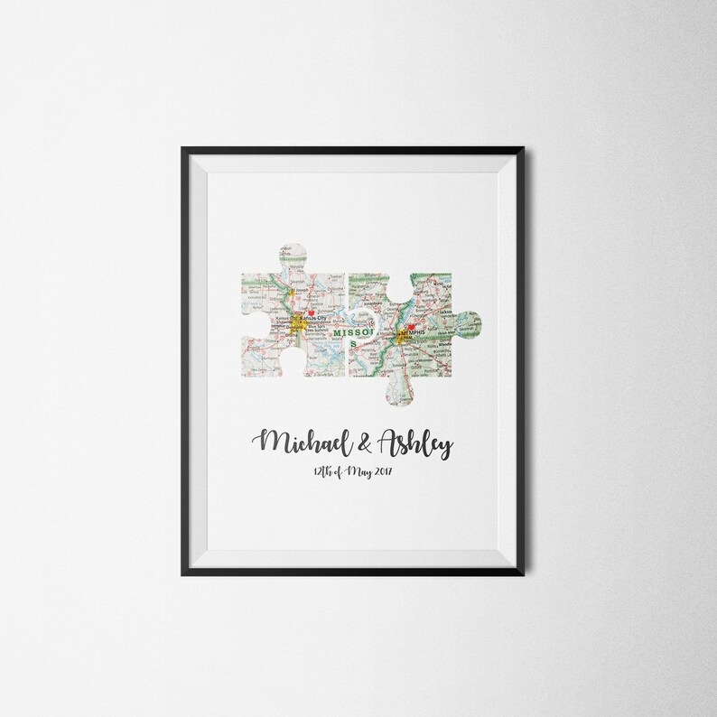 Personalized Map Art, Map Puzzle Print, Unique Wedding Gift, Custom Map  Art, Husband Gift, Gifts For The Couple, Anniversary Gift