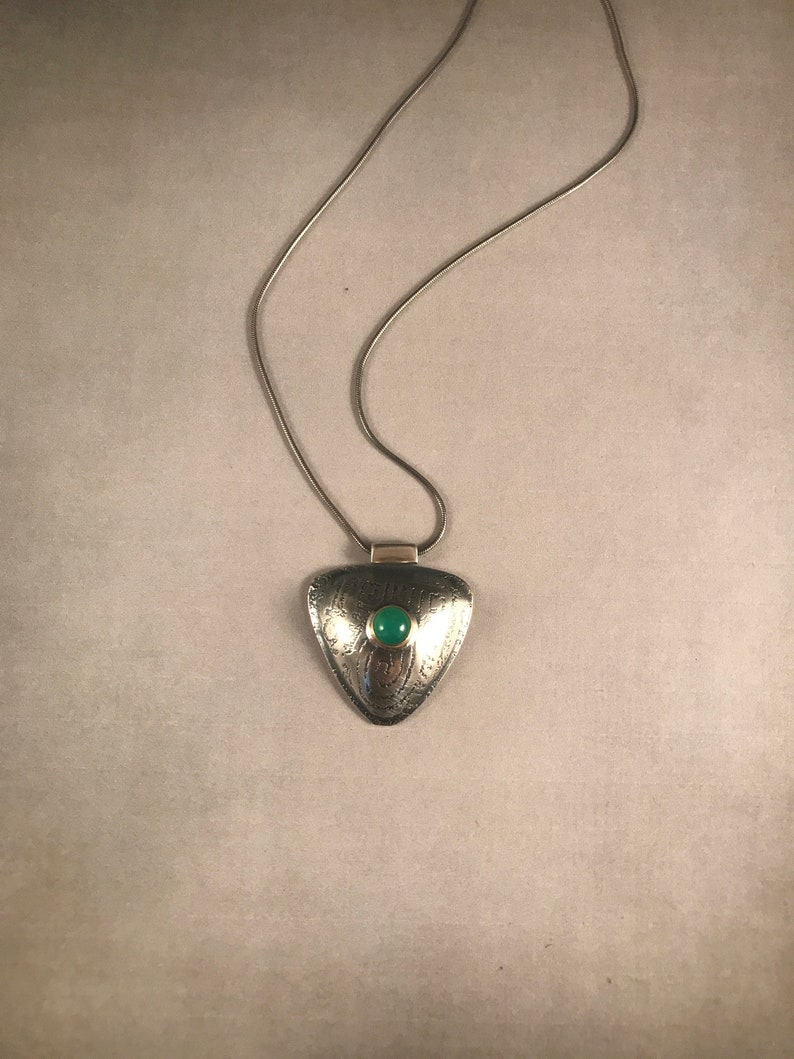 Sterling Silver Hollow Formed PendantChrysoprase and Silver PendantSilver and Gemstone PendantMixed Metal Pendant