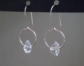 Herkimer Diamond earrings, sterling silver circle earrings, April birthstone, modern dangle earrings, minimalist