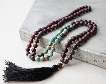 Garnet and Turquoise mala, 108 mala necklace, gemstone japa mala, black tassel necklace, yoga necklace, meditation beads, mantra