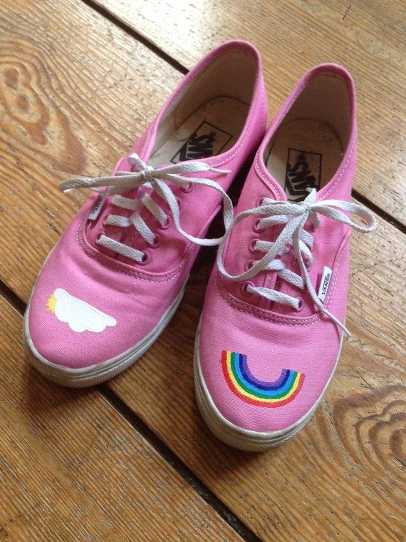 Rainbow Vans in pink   Etsy