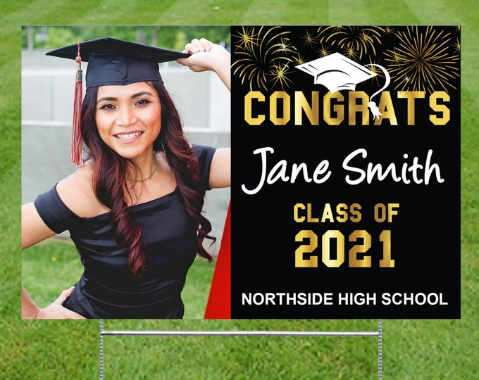 """Featured listing image: Personalized Graduation Yard Sign UV Printed 12""""x18"""", Color change to match school colors"""