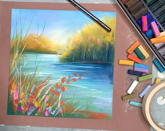 PAINT RIVERBANK REFLECTIONS - online pastel painting workshop tutorial - suitable for all levels