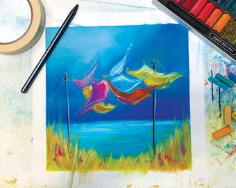 Online Pastel Painting Tutorial Workshop - 'Blowin' in the Wind' - suitable for beginners