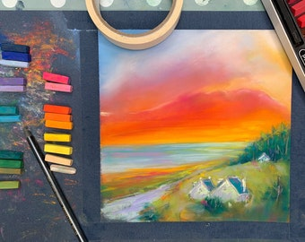 Paint ACHMORE SUNSET - online pastel painting workshop step by step tutorial