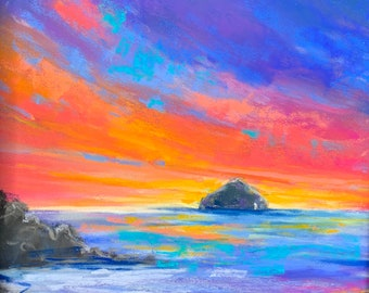 Paint SUNSET ON AILSA - online gouache pastel painting workshop step by step tutorial