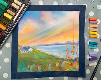 Paint RASPBERRY RIPPLE SKIES - online pastel painting workshop step by step tutorial