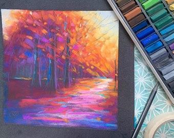 PAINT AUTUMN TREES - online pastel painting workshop tutorial - suitable for all levels