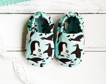 Soft fabric penguin baby shoes - slip on baby shoes - baby slippers - new baby gift - baby shower gift