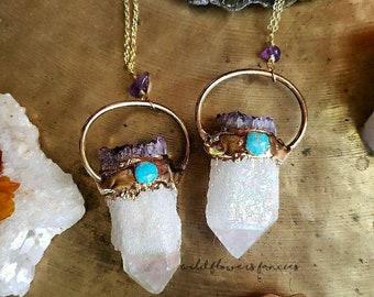 Angel Aura Quartz Necklace~ Turquoise ~Amethyst Jewelry~Beaded Necklace~14k Gold Jewelry