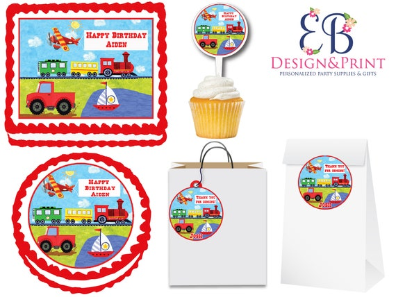 On The Go Transportation Theme Cake and Transportation Party Supplies