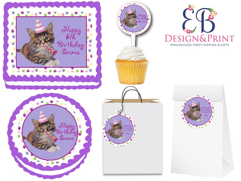 Purr Ty Time Cat Kitten Edible Birthday Party Cake Cupcake