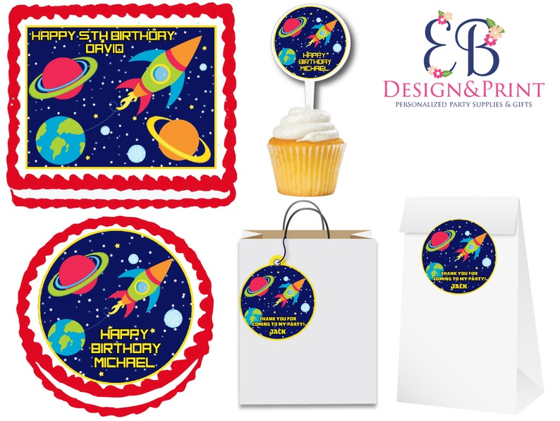 Kitchen, Dining & Bar Supply Outer Space Rocket Ship Party Edible Cake Topper Image Frosting Sheet-all Sizes! Home & Garden