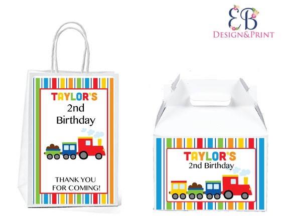 Printed Train Themed Gable Box or Gift Bags for transportation themed birthday