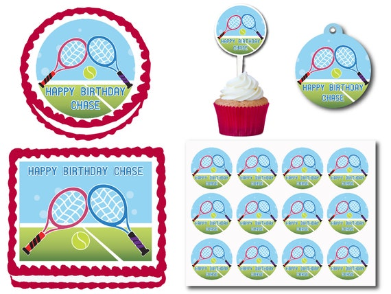 Tennis Rackets Court Birthday Cake Topper Plastic Cupcake Etsy