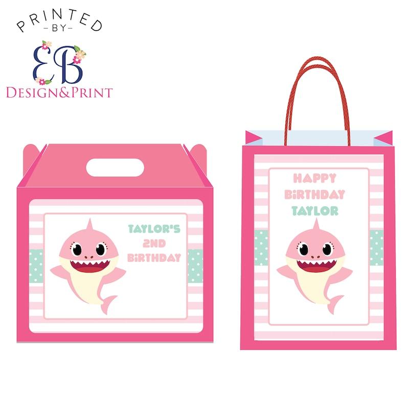 25ca0422e39 Pink Shark Pups Birthday Party Thank You Gift Bag Goody Bag