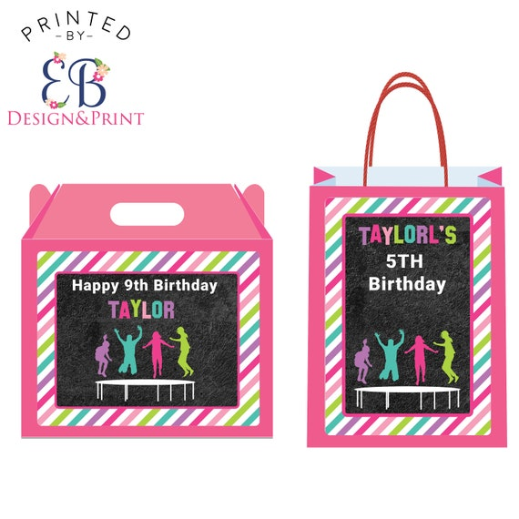 12 Pink Trampoline Birthday Party Thank You Gift Bag Goody