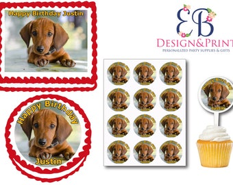 Dachshund Dog Puppy Party Edible Birthday  Cake Cookie Toppers Plastic Cupcake Picks