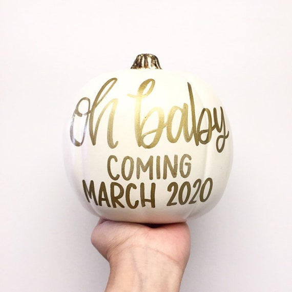 Oh Baby / Baby Announcement / ON SALE / Calligraphy Pumpkin