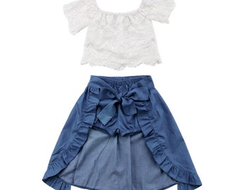 Calista denim bloomer and overskirt set